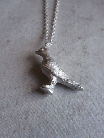 CollardManson 925 silver- Perched Bird Necklace - Silver