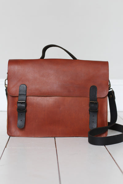 CollardManson Italian Leather Satchel - Tan