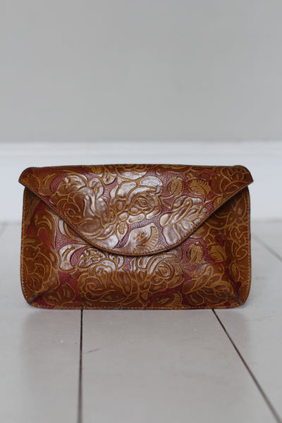 CollardManson Envelope Clutch- Tan Floral