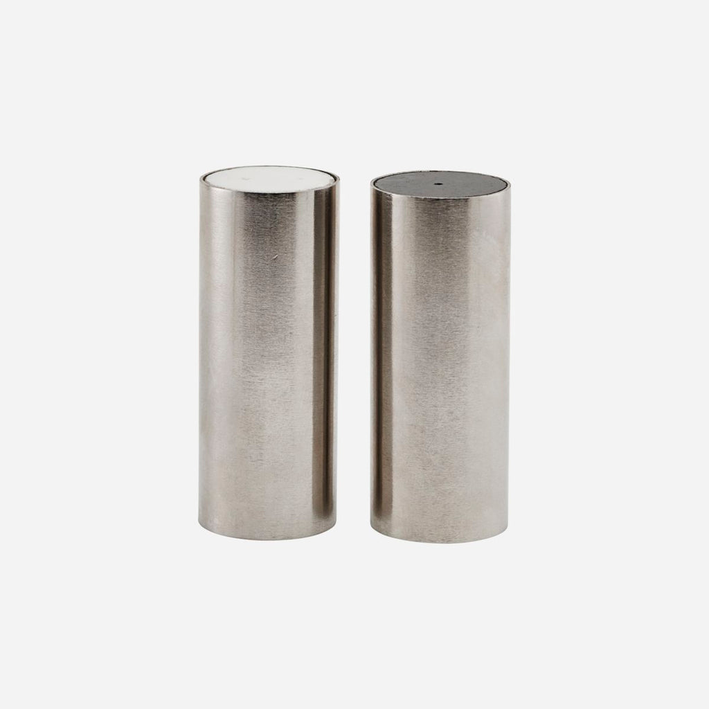 Salt and Pepper Set, Tall, Brushed Silver