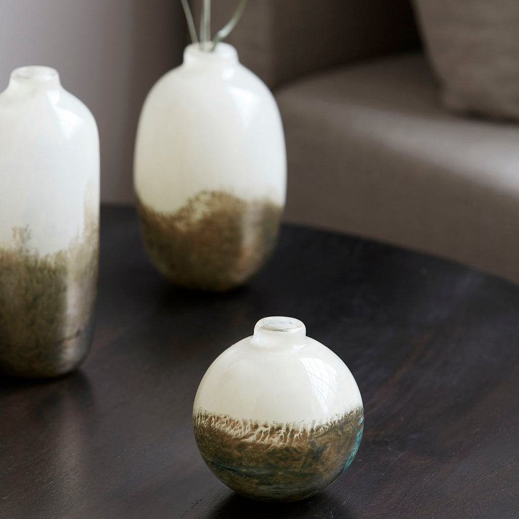 Vase, Earth, Beige/Metallic Round