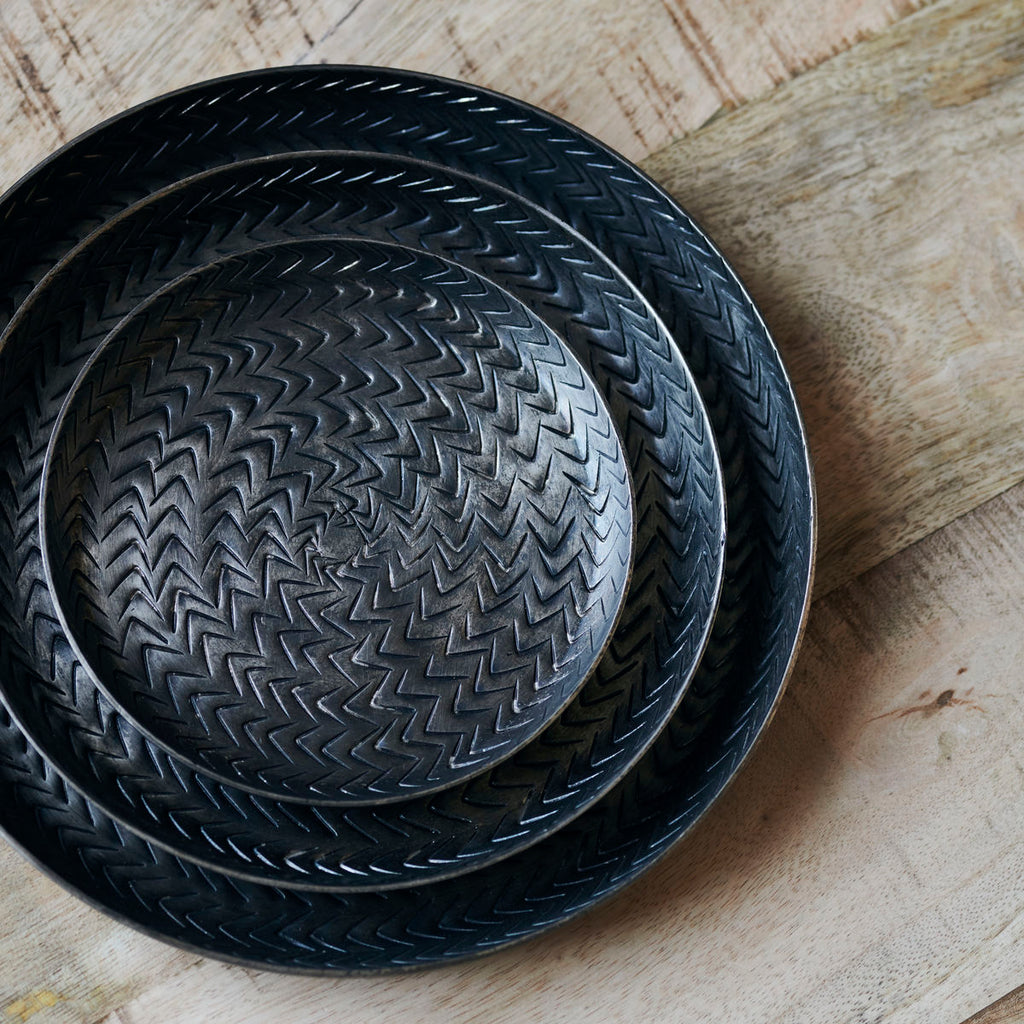 Tray, Rattan, Brushed black finish MEDIUM