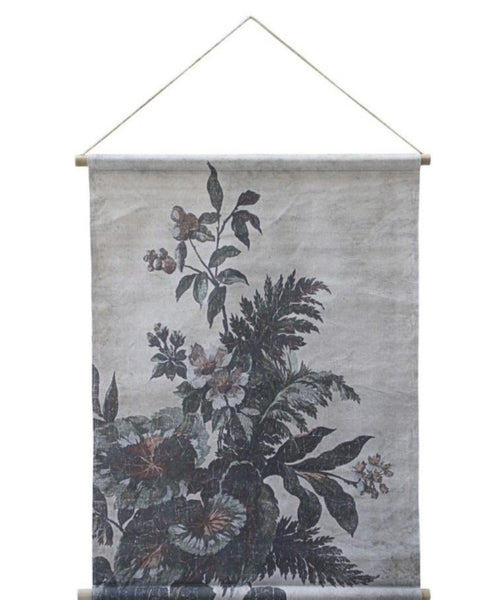 Canvas for hanging w. floral print H97/L76 cm