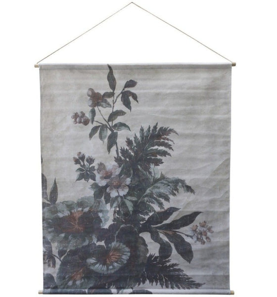 Canvas for hanging w. floral print H124/L145 cm