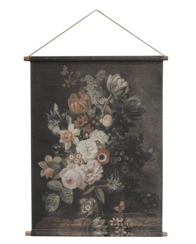 Canvas for hanging w. floral print Roses H97/L76 cm