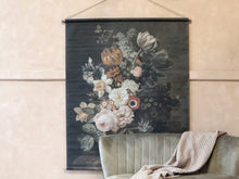 Canvas for hanging w. floral print Roses H145/L124 cm