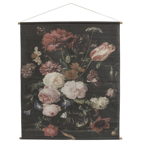 Canvas for hanging w. floral print Large H145/L124 cm