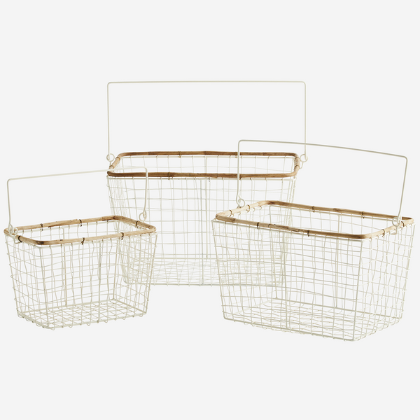 WIRE BASKET W/ BAMBOO -cream