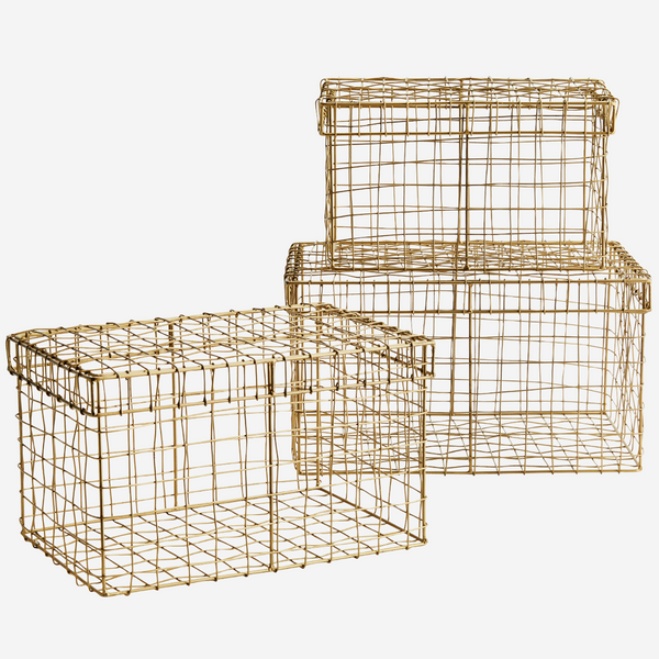 Rectangular wire baskets w/ lid