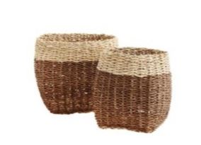 Bamboo Rope Basket - set of 2 brown/natural colour