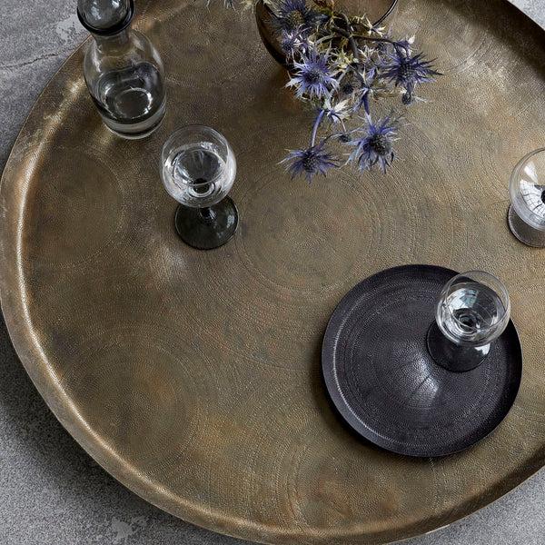 Tray, Jhansi, Antique brass finish