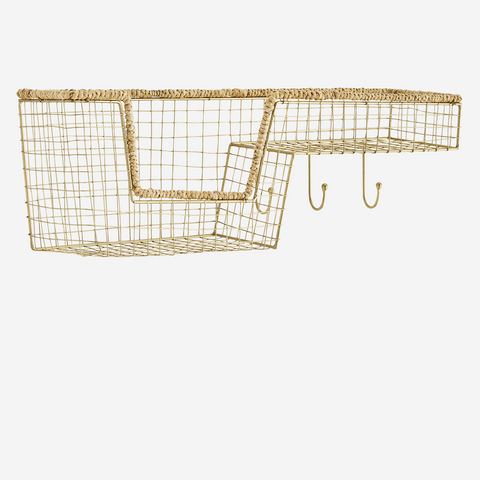 WIRE SHELF W/ JUTE AND HOOKS