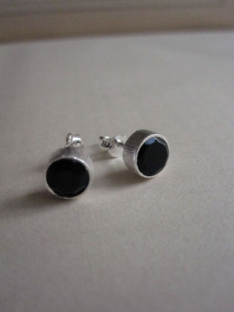 CollardManson 925 Silver Black Onyx Brushed Studs