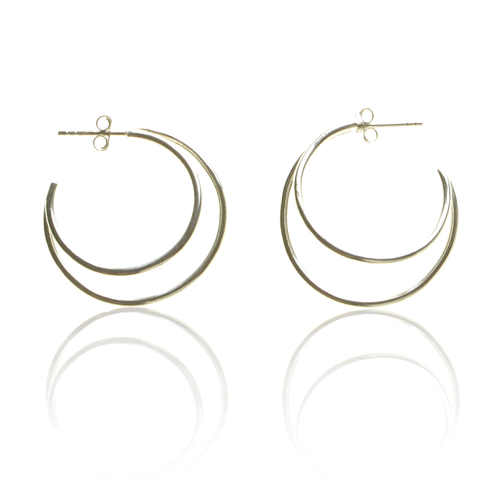 925 Silver Double Circle Crescent Earrings