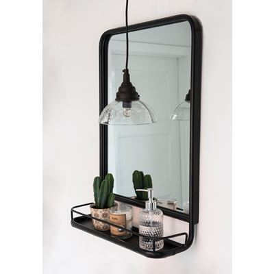 Wall mirror with mini shelf