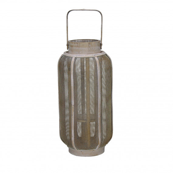 LANTERN - BAMBOO/METAL - NATURAL/GOLD - S - Ø15XH32