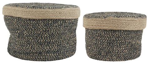 Round Two-Coloured Basket - set of 2