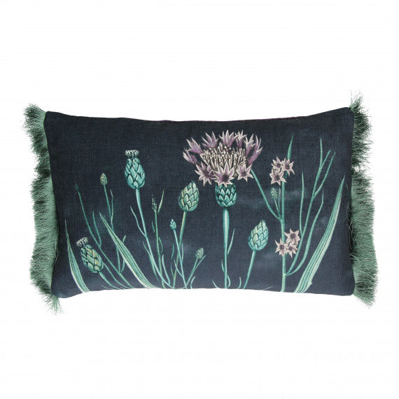 CUSHION FLOWERS - VELVET - PURPLE - 30X50 CM
