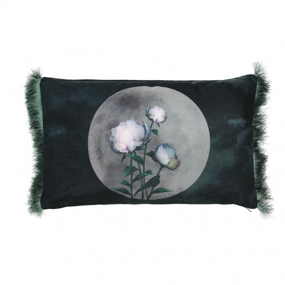 CUSHION FLOWERS Oval - VELVET - PURPLE - 30X50 CM