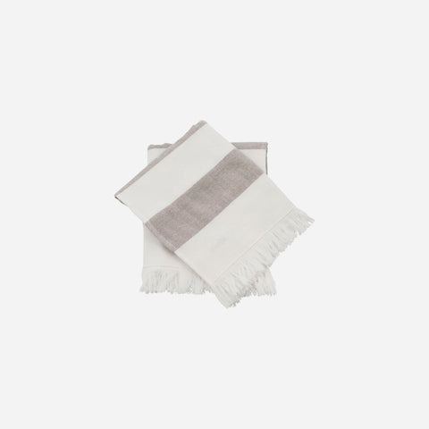 Towel, Barbarum, White and brown stripes