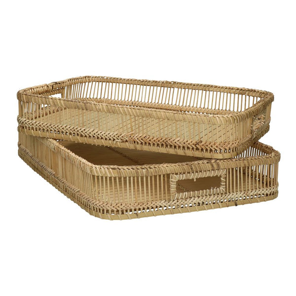 PRANA - SET/2 TRAYS - BAMBOO - L 40/47 X W 29/34 X H 8/8 CM - NATURAL