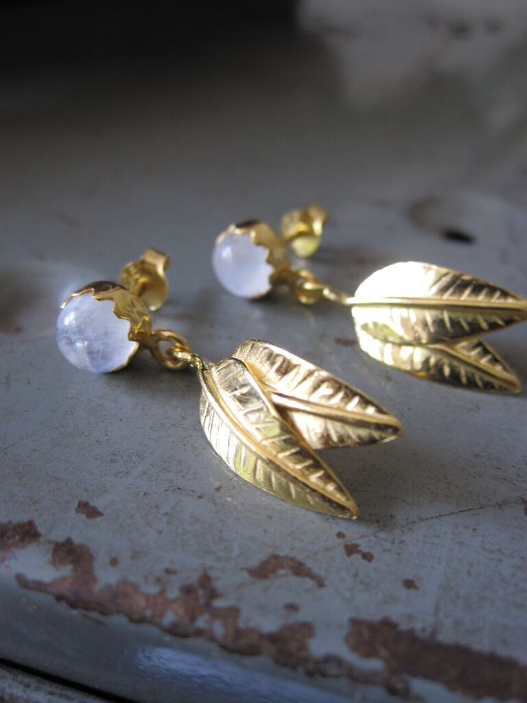 925 silver Gold plated Leaf Earrings