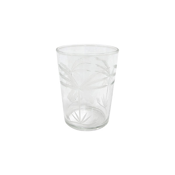 Drinking glass, engraved palms