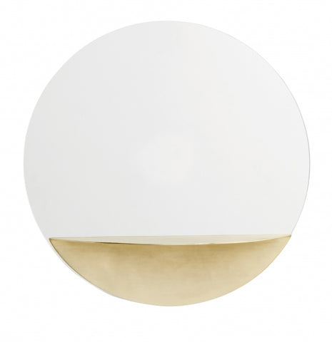 Circle Mirror w/Golden Shelf