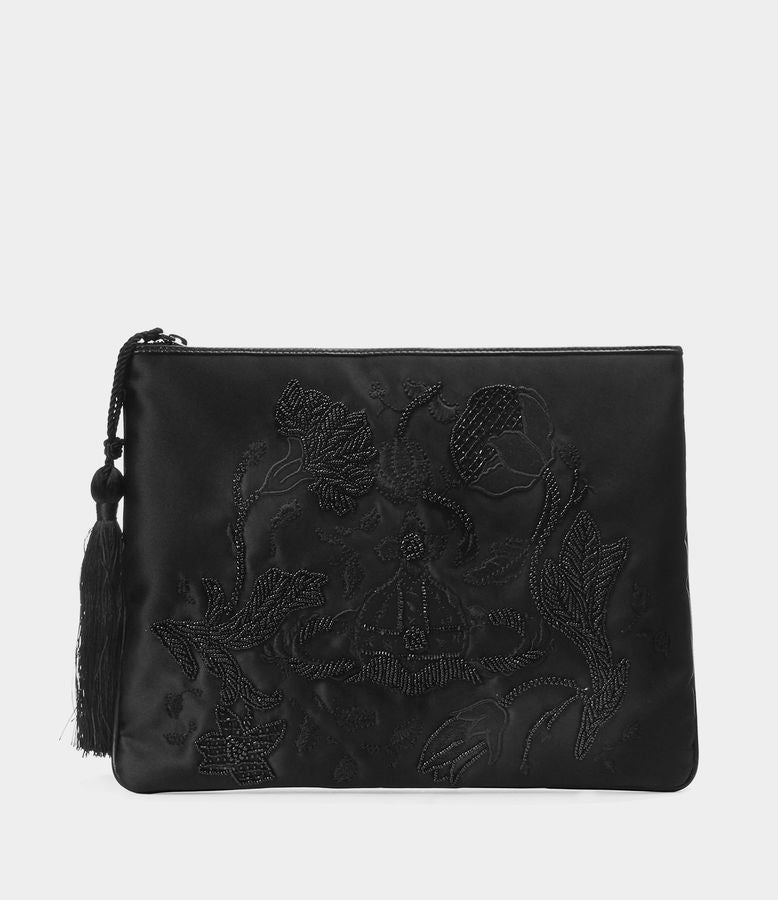 SATIN DOLLY CLUTCH BAG BLACK