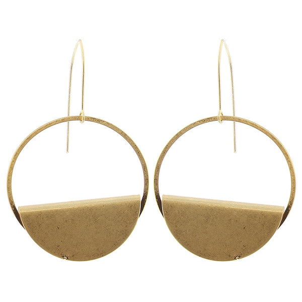Folded circle earrings - gold