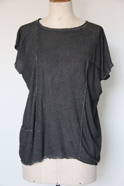 un-namable Linen T-Shirt with Patch- graphite