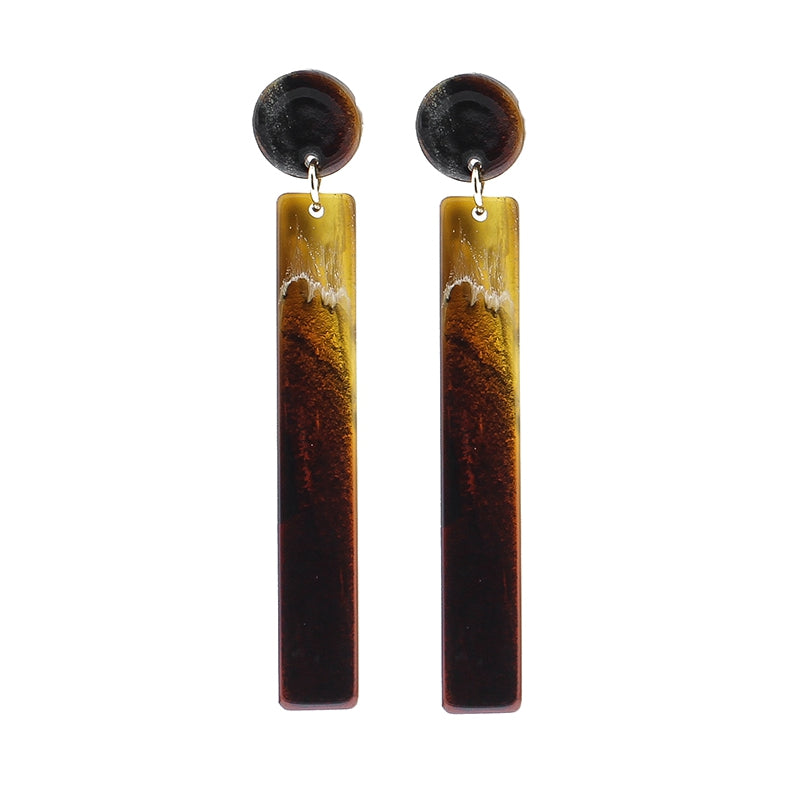 Long Geometric Earring- Brown