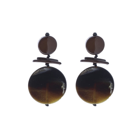 Circular drop earrings - brown