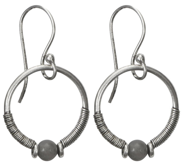 Earrings w/grey chalcedony stone silver plated