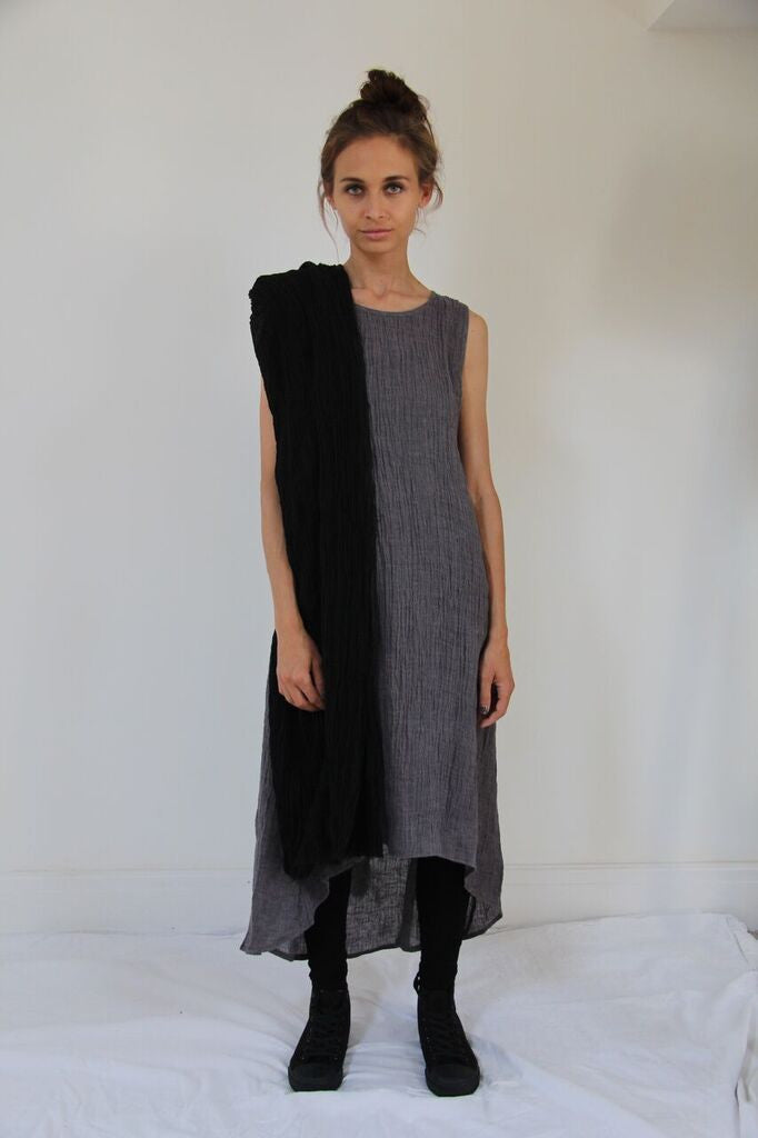 CollardManson Long Crinkled Linen Dress