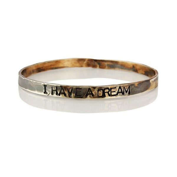 WDTS Sheffield Silver - Hand Hammered Bangle - I HAVE A DREAM - Mixed Finish