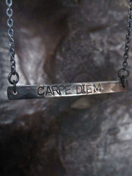WDTS Sheffield Silver - Hand Hammered Short Necklace - CARPE DIEM - Mixed Finish