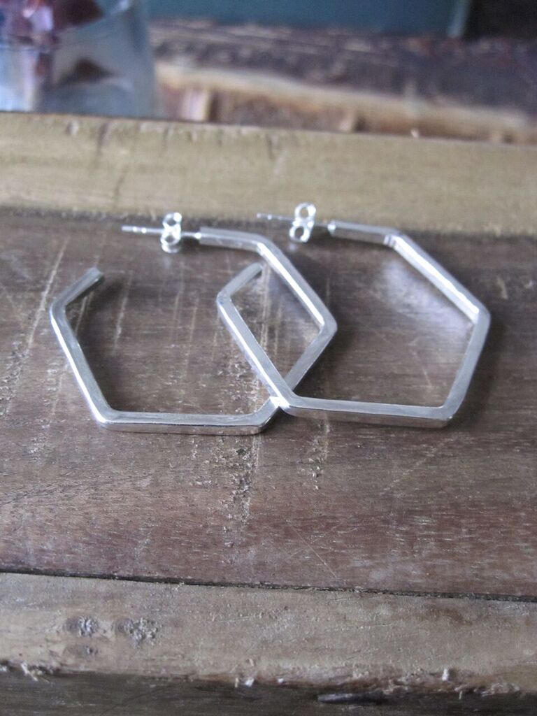 925 Silver Hexagon Earrings