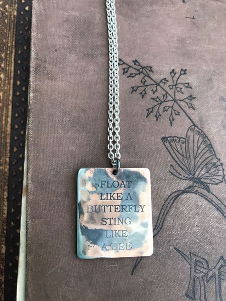 WDTS Sheffield Silver - Hand Hammered Necklace - FLOAT LIKE A BUTTERFLY STING LIKE A BEE