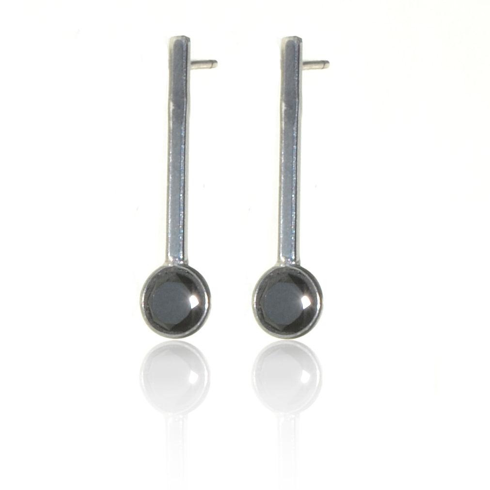 925 Silver stud drop Onyx Earrings