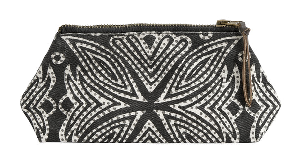 Patterned Pouch-Black/off white