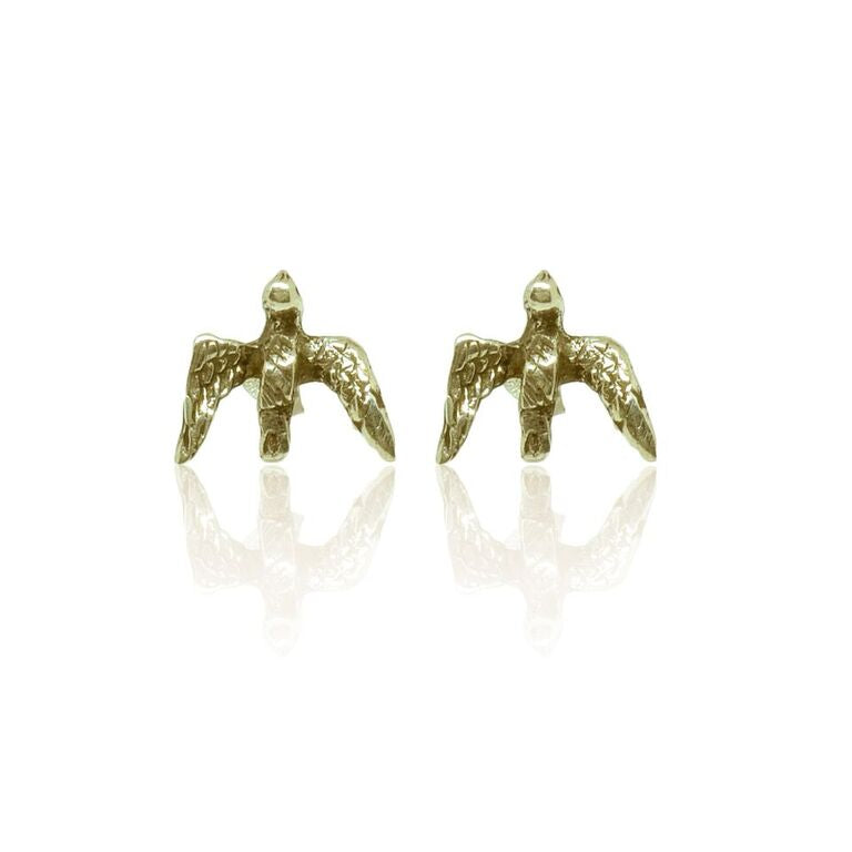 CollardManson 925 silver swallow studs-gold plated
