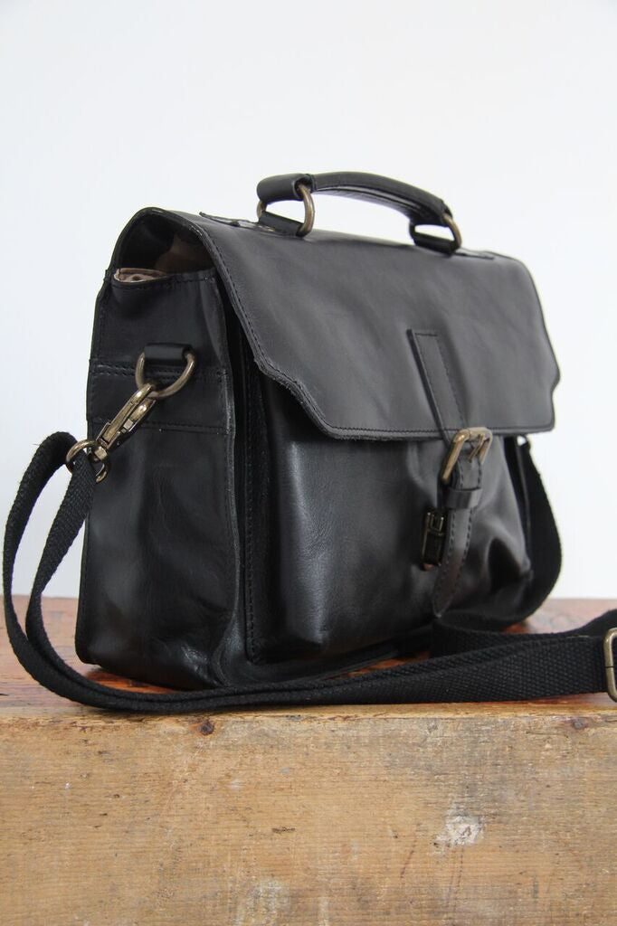 Isaac Black Leather Satchel Bag