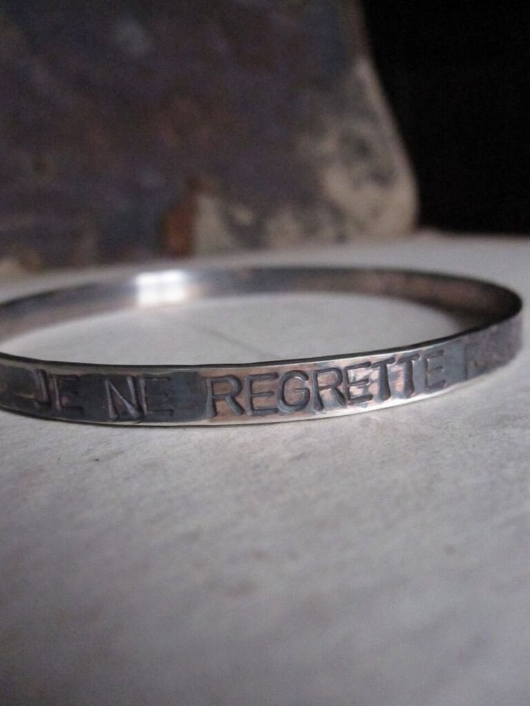 WDTS Sheffield Silver - Hand Hammered Bangle/Cuff - JE NE REGRETTE RIEN