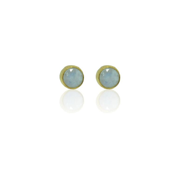 CollardManson 925 Silver Rainbow Moonstone Brushed Studs-gold