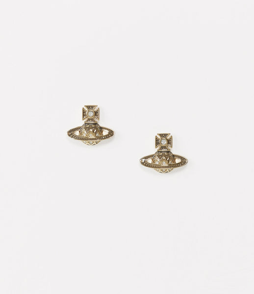 ARETHA BAS RELIEF EARRINGS GOLD TONE