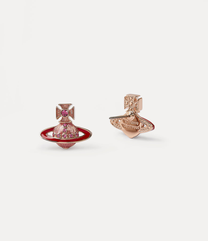 Vivienne Westwood Regina Small Bas Relief Earrings- Pink Gold/ Strawberry red