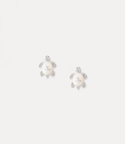 Vivienne Westwood Turtle Earrings- Rhodium/ White Crystal