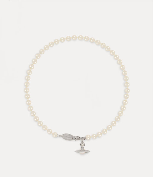 Vivienne Westwood Simonetta Pearl Necklace - Silver Tone