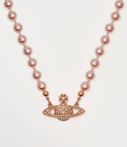 Vivienne Westwood Mini Bas Relief Pearl Choker - Light Peach/Pink Gold